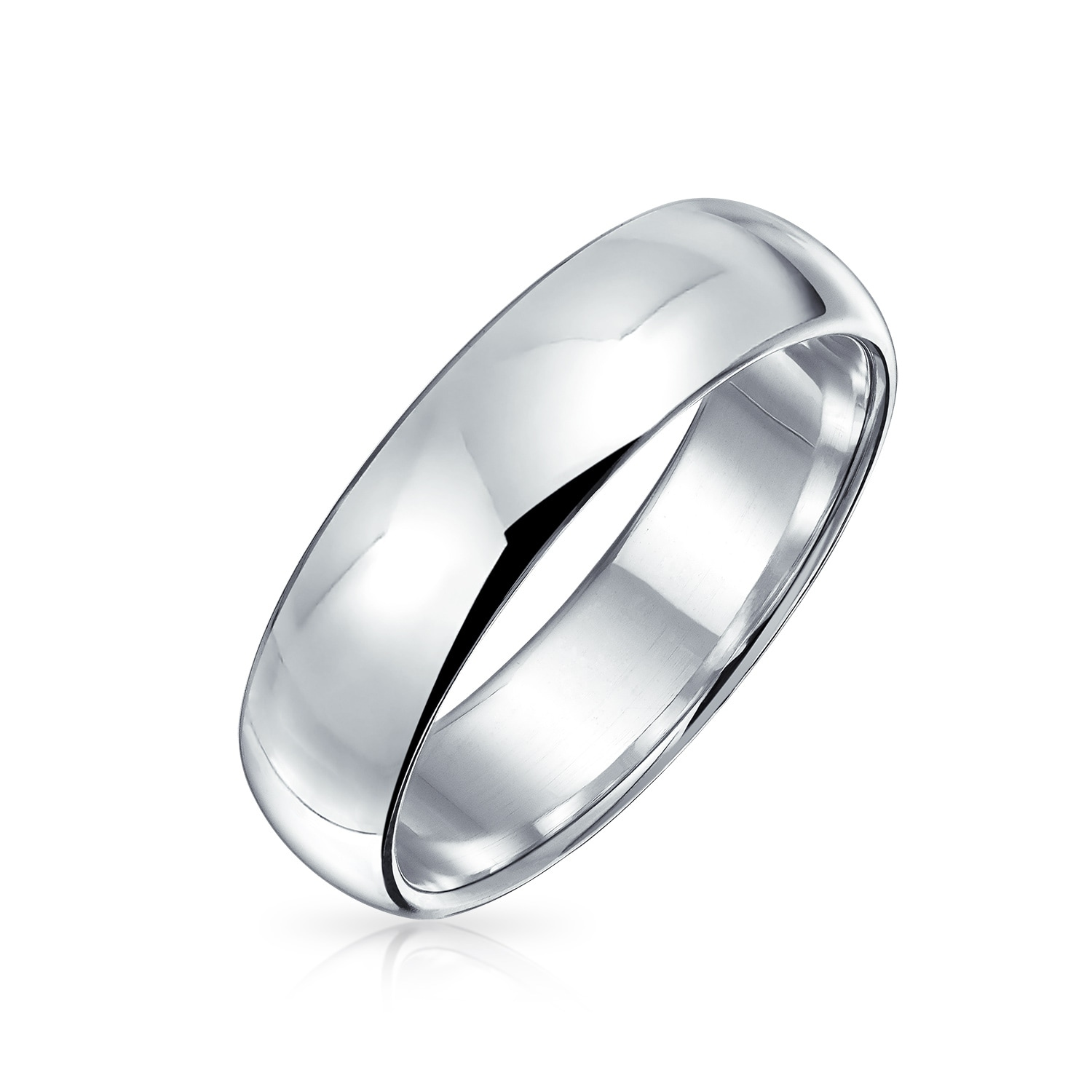 It is just an image of Plain Simple 48 Sterling Silver Dome Couples Wedding Band Ring 48MM