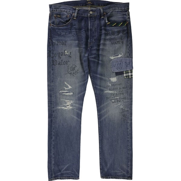 Ralph Lauren Mens Sullivan Patched Slim Fit Jeans. Opens flyout.