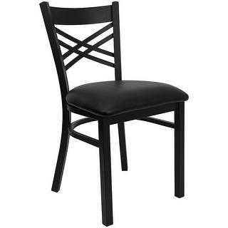Dyersburg Black ''X'' Style Back Metal Restaurant/Pub/Bar Chair, Black Vinyl Seat