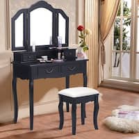 Costway Tri Folding Mirror bathroom Wood Vanity Set Makeup Table Dresser 4 Drawers + Stool - Black