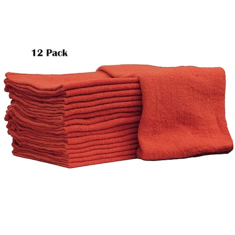 Mechanic Shop towels, Rags 100% Cotton Commercial Grade Perfect for your Home Garage & Auto Body Shop (14x14) inches, 12 Pack