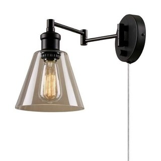 Globe Electric 65311 Single Light Swing Arm Wall Sconce with Clear Glass Shade and Canopy On / Off Switch - Oil Rubbed Bronze