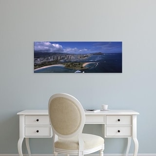 Easy Art Prints Panoramic Images's 'Buildings, Ala Moana Beach Park, Waikiki Beach, Honolulu, Oahu, Hawaii' Canvas Art