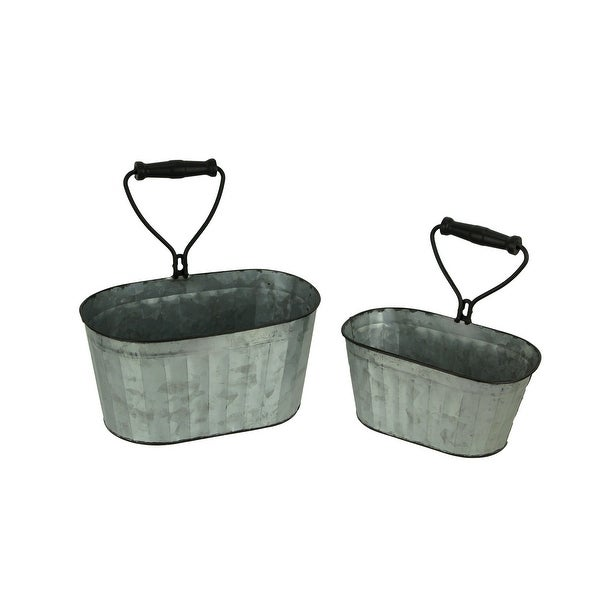 Galvanized Tin Indoor Outdoor Hanging Tub Planters with Built-In Handle Set of 2 - 11 X 11 X 6.75 inches