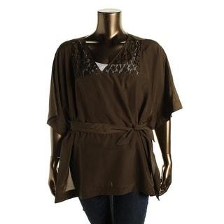 MICHAEL Michael Kors Womens Plus Mesh Inset Short Sleeves Pullover Top - 3X