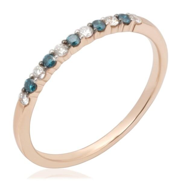 Prism Jewel 0.16Ct Round 1.45MM Blue & White Diamond Wedding Band