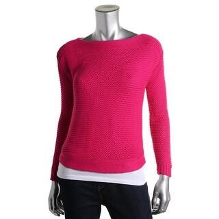 Lauren Ralph Lauren Womens Petites Textured Boatneck Pullover Sweater - pm