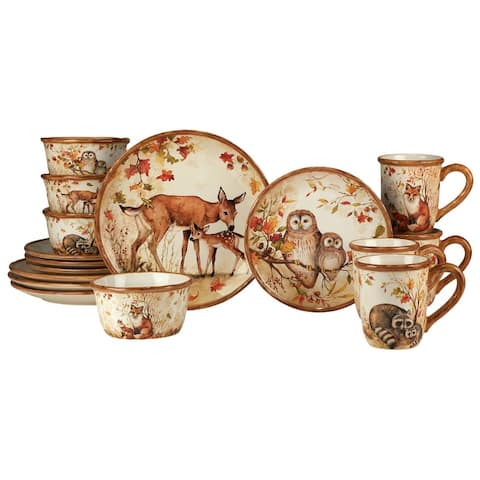 Certified International Pine Forest 16 pc Dinnerware Set, Service for 4