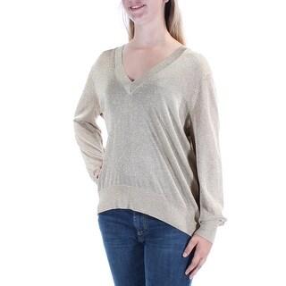 MICHAEL KORS $125 Womens New 1397 Gold Long Sleeve V Neck Casual Sweater L B+B