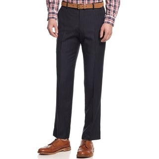 Bar III Carnaby Collection Slim Fit Dress Pants 30 x 32 Navy Blue Striped