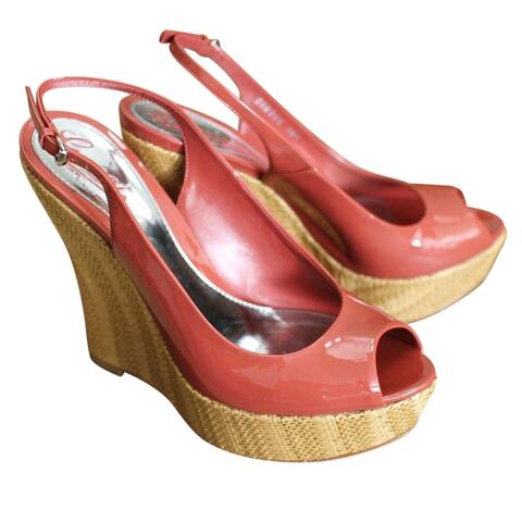 Gucci Women's Coral Patent Leather Platforms Wedges Shoes 258355 (39.5 G / 9.5 US)
