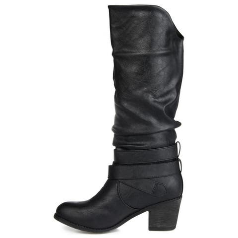 Journee Collection Women's 'Late' Buckle Slouch High Heel Boots