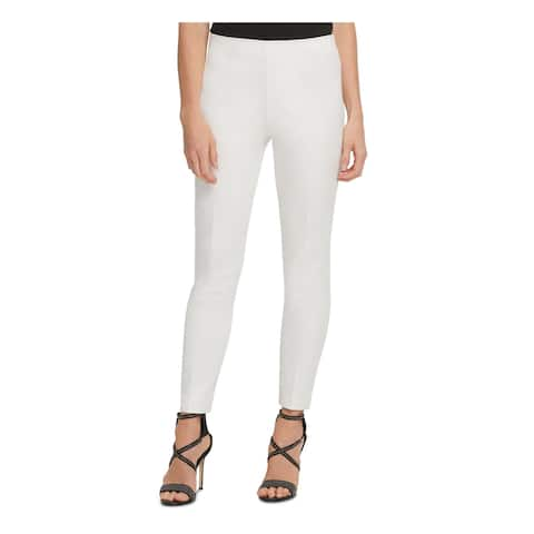 DKNY Womens Ivory Solid Flare Pants Size 12