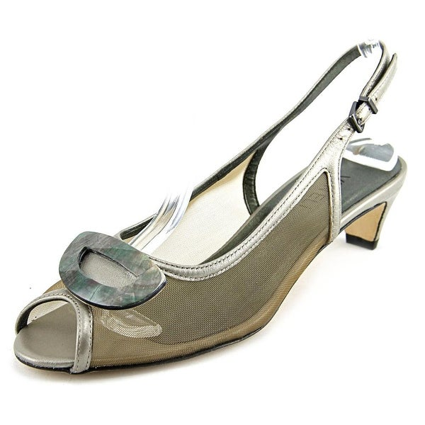 Vaneli Bowl Women Open-Toe Leather Tan Slingback Heel