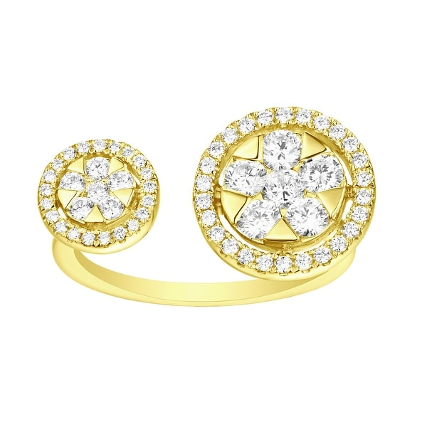 Prism Jewel 0.87ct Round G-H/SI1 Natural Diamond Two Open Round Ring - White G-H
