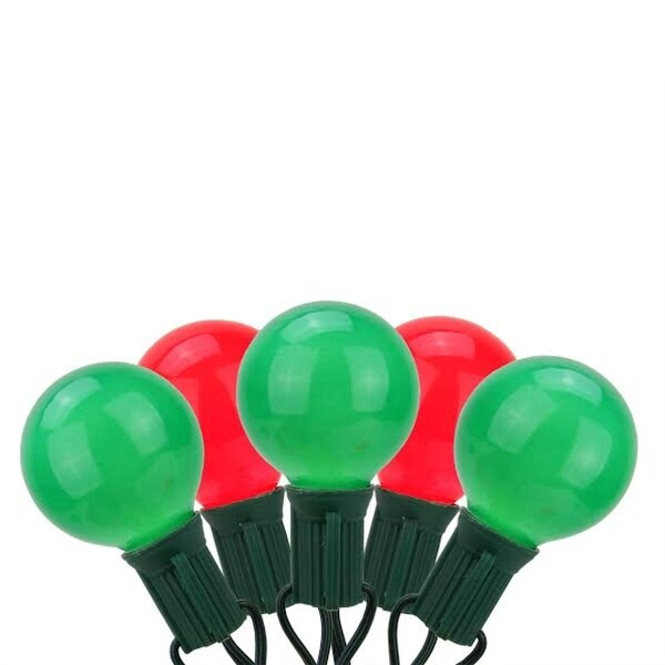 Set of 20 Red and Green Opaque G50 Globe Christmas Lights - Green Wire