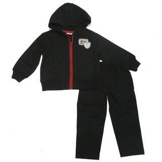 Gioberti Little Boys Black Fleece Zip Up Hooded Top Pant 2 Pc Jogging Set