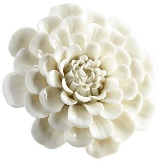 "Cyan Design 09107  Wall Flowers 1-1/2"" x 4-1/4"" Botanical Ceramic Wall Decor - Off White Glaze"