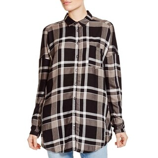 Vero Moda Womens Henley Top Plaid Long Sleeves