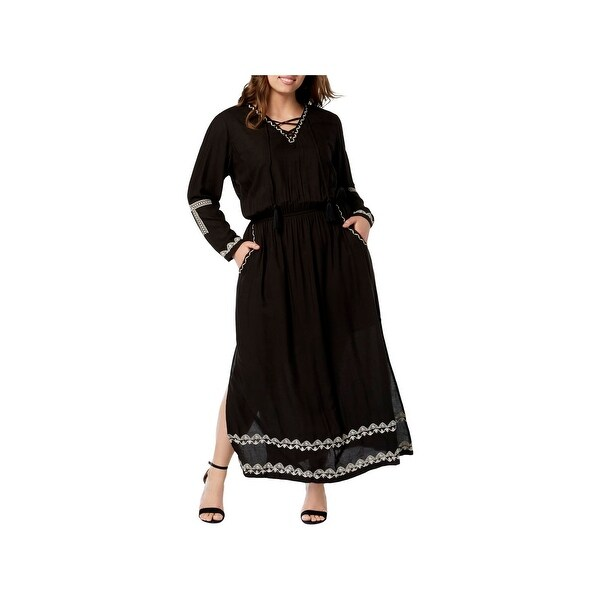 NY Collection Womens Plus Maxi Dress Long Sleeves Embroidered