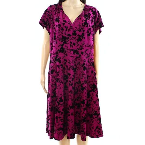 5a91f43dd2 Shop City Chic NEW Magenta Pink Womens 24W Plus Flocke Floral Sheath ...