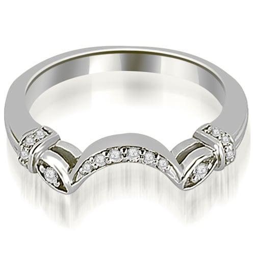 0.07 cttw. 14K White Gold Antique Round Cut Diamond Wedding Band