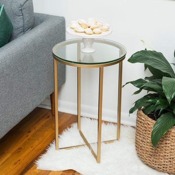 Shop Offex 16 Quot Durable Glass Round Side Table With Metal