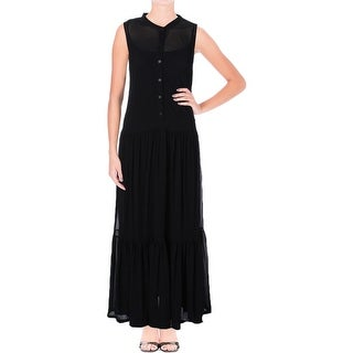 Lauren Ralph Lauren Womens Maxi Dress Mesh Gathered