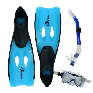 Blue Kona Adult Pro Silicone Water or Swimming Pool Scuba or Snorkeling Set - Large