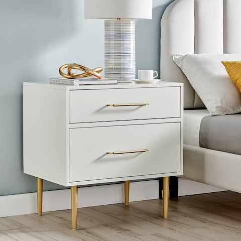 Sylvia White and Gold 2-drawer Nightstand Side Table