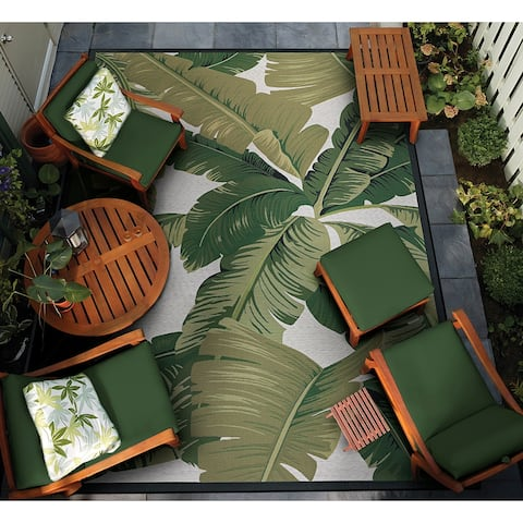 Gelato Tropical Palm Green-Ivory Indoor/ Outdoor Area Rug