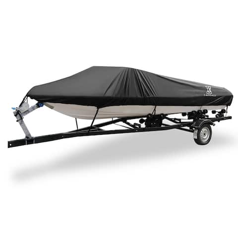 """16-18ft 94"""" 300D Polyester Boat Cover Waterproof Black V-Hull Protector - Fit Length:16-18ft,Beam Width: 94"""""""