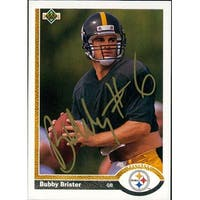 Signed Brister Bubby Pittsburgh Steelers 1991 Upper Deck Football Card autographed