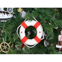 White Lifering With Red Bands Christmas Tree Ornament - 6 in.