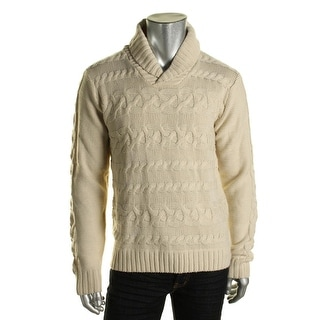 Weatherproof Mens Wool Blend Cable Knit Shawl-Collar Sweater - XL