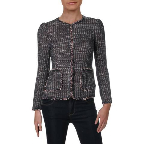 Rebecca Taylor Womens Tweed Jacket Metallic Wool Blend - 0