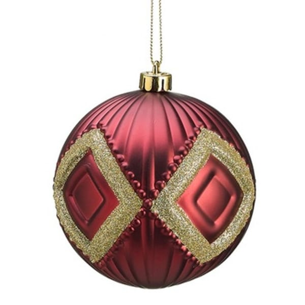 "4"" Rich Elegance Burgundy Glittered Ball Decorative Christmas Ornament"