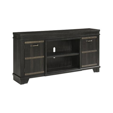 """Noorbrook Black Extra Large TV Stand with Fireplace Option - 72.13"""" W x 15"""" D x 36.13"""" H"""