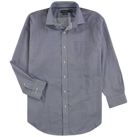 """Ralph Lauren Mens Tile Pattern Button Up Dress Shirt, blue, 17.5"""" Neck 32""""-33"""" Sleeve - 17.5"""" Neck 32""""-33"""" Sleeve"""