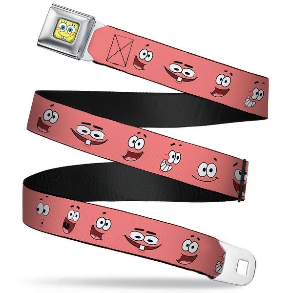 Sponge Bob Face Close Up Patrick Starfish Expressions Pink Webbing Seatbelt Seatbelt Belt