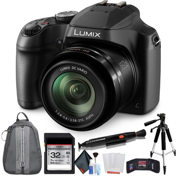 Panasonic Lumix DC-FZ80 Digital Camera with 32GB Memory Card and Padded Backpack Bundle