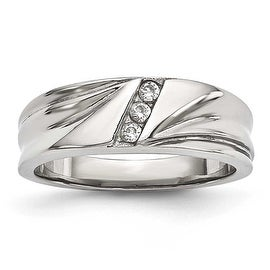 Stainless Steel Polished With CZ Ring 6 8 Mm Sizes 6 13