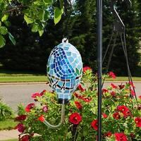 Sunnydaze Mosaic Glass Bluebird Outdoor Hanging Hummingbird Feeder - 6-Inch