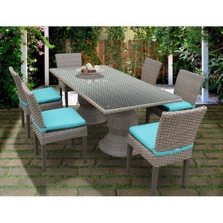 Miseno MPF-OASRECTKIT6C Haven 7 Piece Aluminum Framed Outdoor Dining Set with Glass Table Top