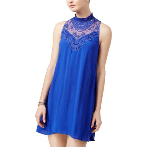 City Studio Womens Triangles Shift Dress, blue, X-Large