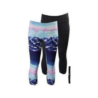 Ideology Arctic Blue Black Cropped Leggings And Headband Gift Set XS