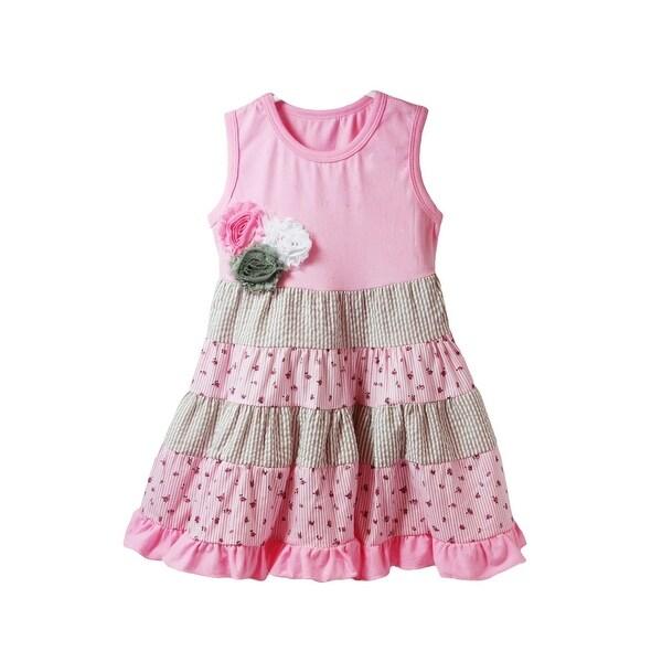 Baby Girls Pink Gray White Shabby Flower Embellished Stripe Panel Dress