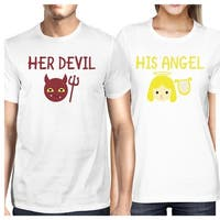 Her Devil His Angel Cute Graphic T-Shirts Matching Couples Outfits
