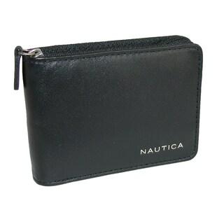 Nautica Men's Leather Weatherly Slim Zip-Around Bifold Wallet - One size