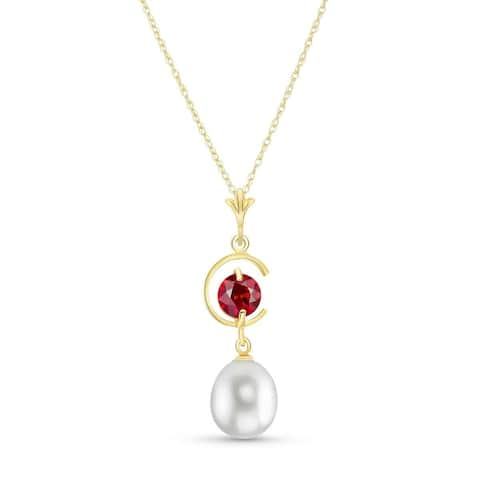 4.5 Carat 14K Solid Gold Natural Ruby Gemstone Pearl Necklace
